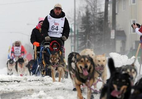 Mushers take part in the early stages of last year's Iditarod dog sled race in Anchorage, Alska.